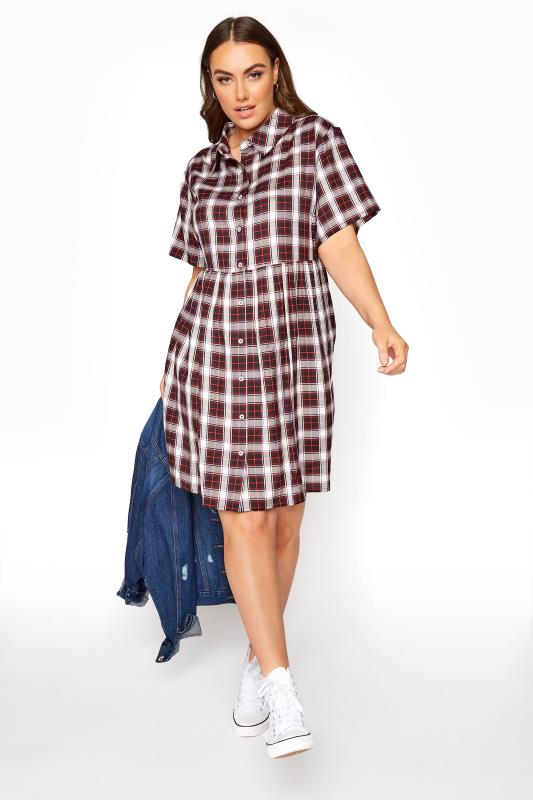 dla puszystych LIMITED COLLECTION Red Check Shirt Smock Dress