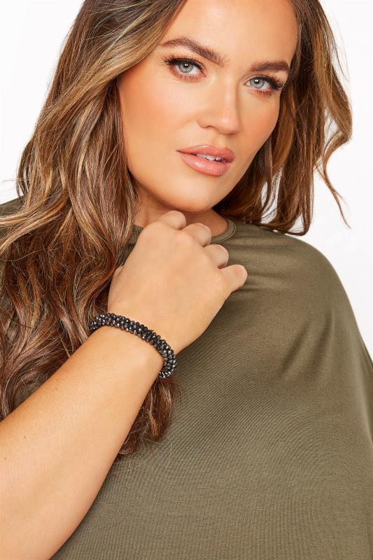 Plus Size  Black Beaded Stretch Bracelet