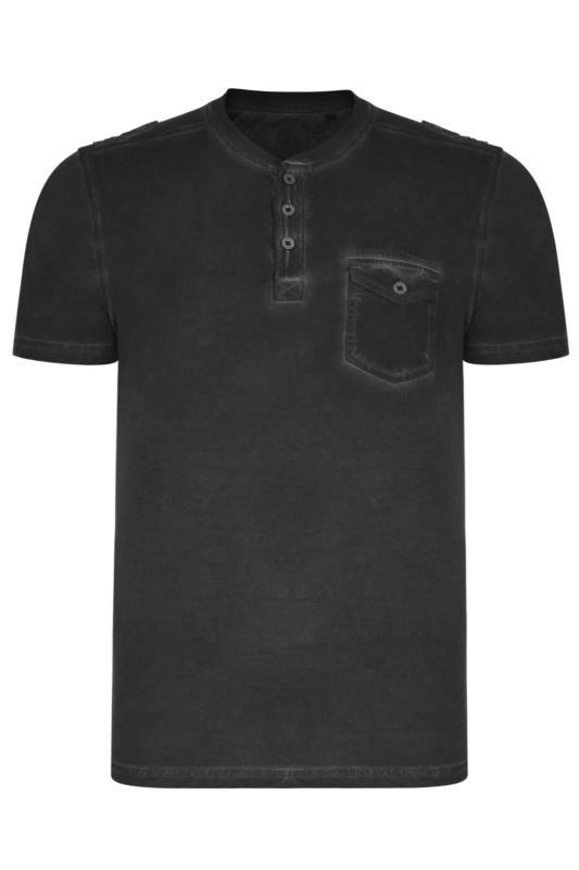 KAM Black Acid Wash Grandad Style T-Shirt