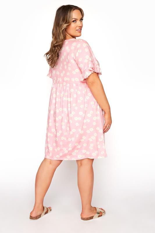 Pink Floral Print Short Frill Sleeve Dress_C.jpg