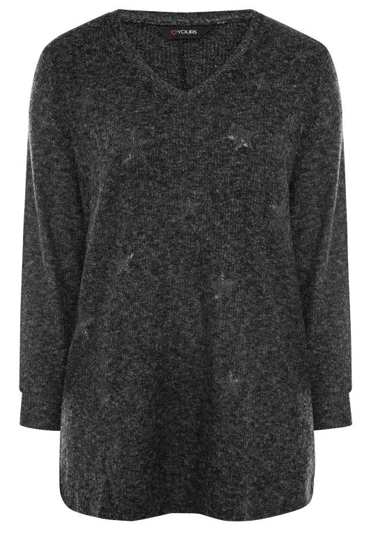 Plus Size  Grey Star Print Embellished Knitted Top