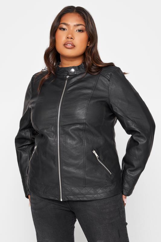 Plus Size Jackets Black Faux Leather Collarless Jacket