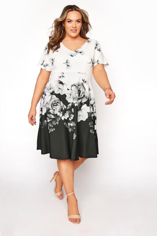 Großen Größen  YOURS LONDON Mono Floral Border Dress