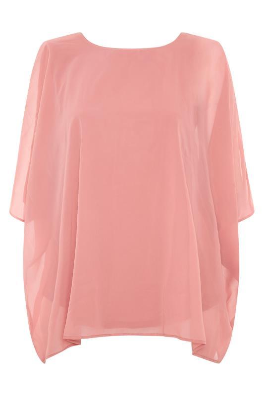 YOURS LONDON Pink Chiffon Cape Blouse_F.jpg