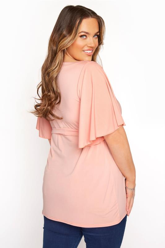 YOURS LONDON Pink Slinky Belted Top_C.jpg