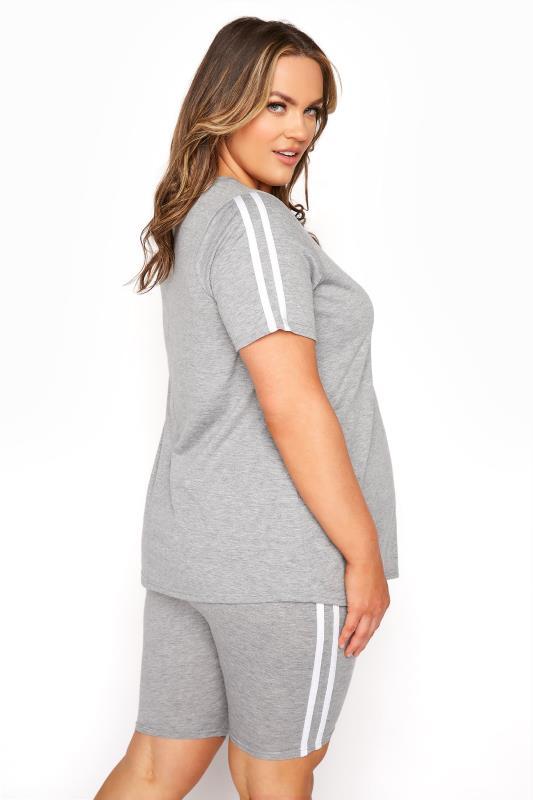 BUMP IT UP MATERNITY Grey Stripe T-shirt & Shorts Set_C.jpg