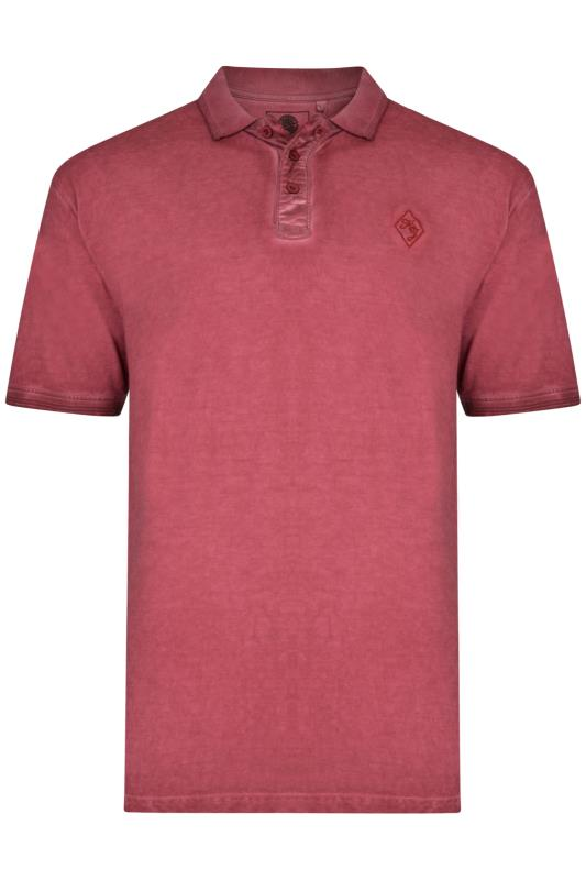 Men's Polo Shirts KAM Red Acid Wash Polo Shirt