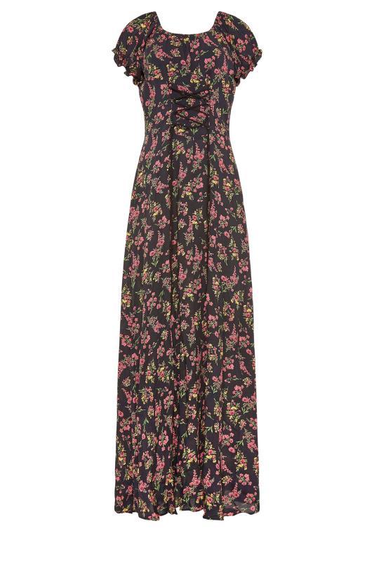 LTS Black Floral Puff Sleeve Corset Maxi Dress_f.jpg