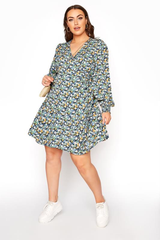 LIMITED COLLECTION Blue Floral Wrap Mini Dress