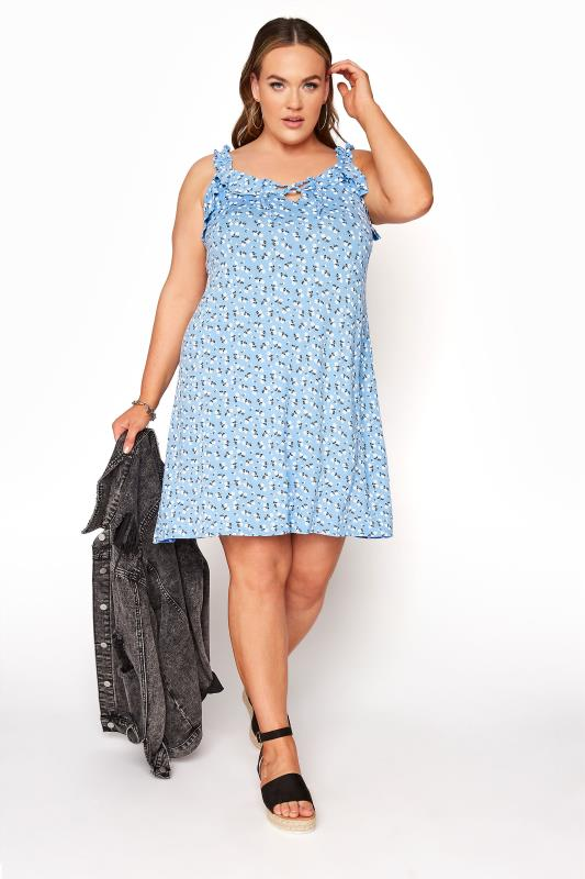 LIMITED COLLECTION Blue Floral Strappy Frill Dress_A.jpg