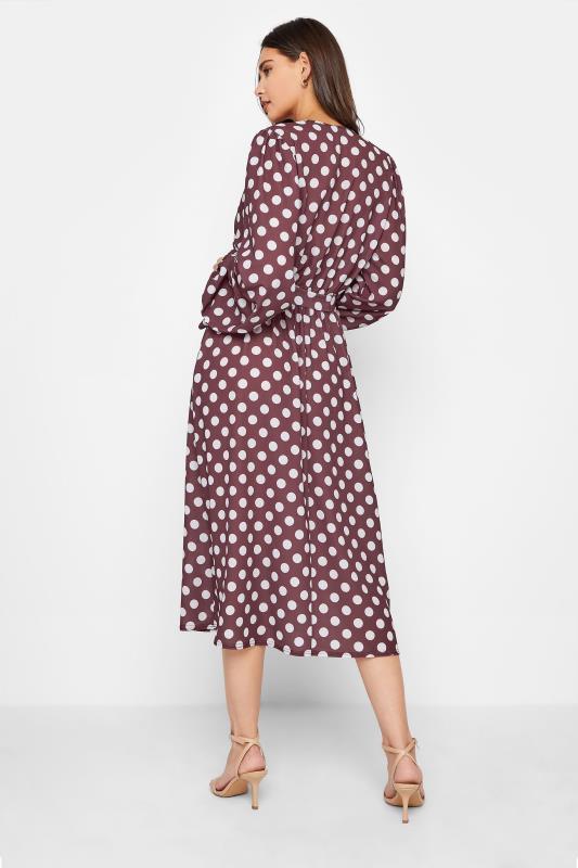 LTS Brown Polka Dot Wrap Midi Dress_C.jpg