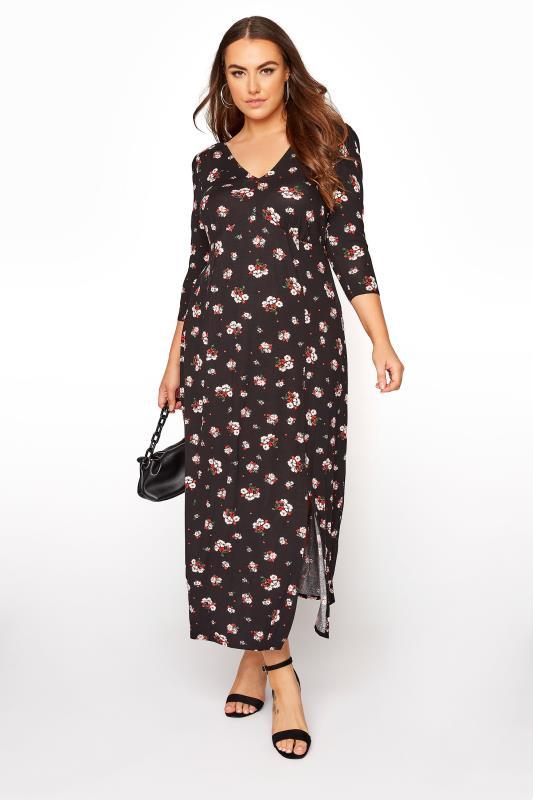 Plus Size  YOURS LONDON Black Floral Side Split Midaxi Dress