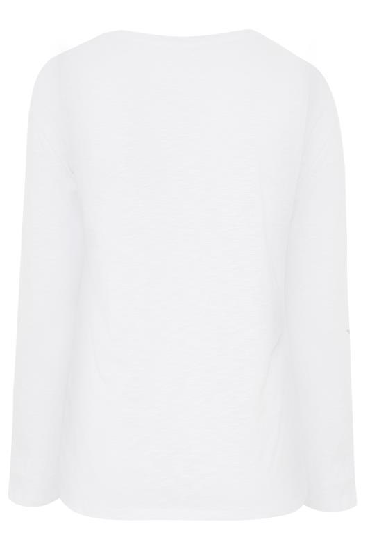 White Cotton V-Neck Long Sleeve Top_BK.jpg
