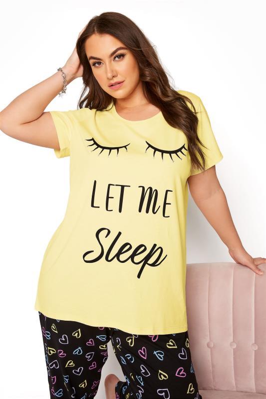 Yellow 'Let Me Sleep' Dipped Back Pyjama Top_A.jpg