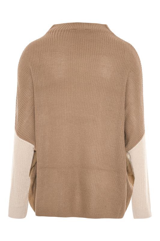 Beige Colour Block Oversized Knitted Jumper_BK.jpg