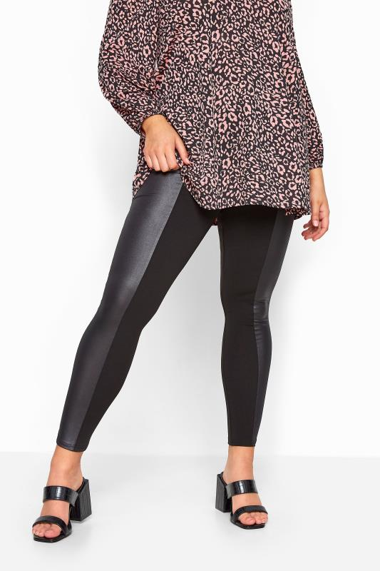 LIMITED COLLECTION - Legging met panelen in leer-look in zwart