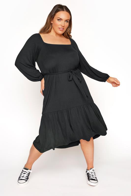 LIMITED COLLECTION Black Millkmaid Tiered Midi Dress