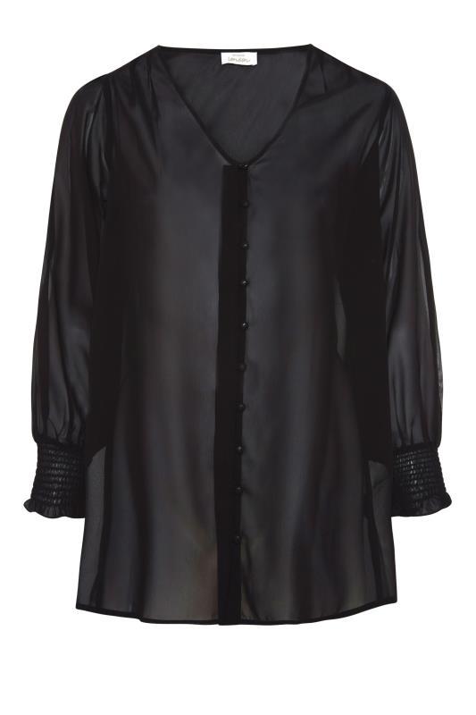 YOURS LONDON Black Balloon Sleeve Shirt_F.jpg