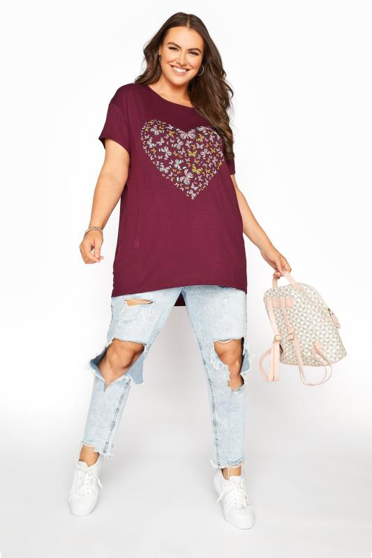 LIMITED COLLECTION Wine Butterfly Heart T-Shirt_B.jpg