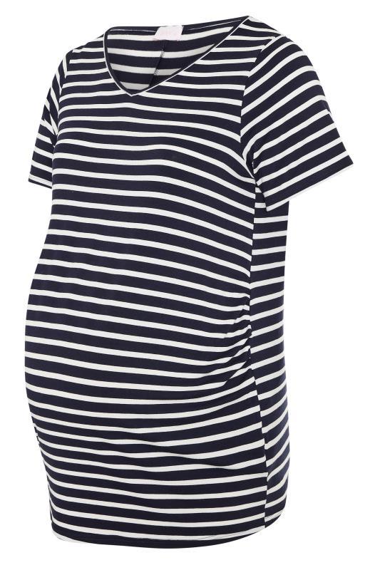 BUMP IT UP MATERNITY Black Stripe Short Sleeve T-Shirt_F.jpg