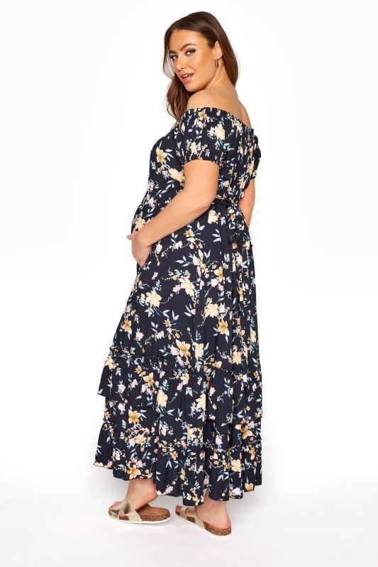 BUMP IT UP MATERNITY Navy Floral Bardot Maxi Dress_C.jpg