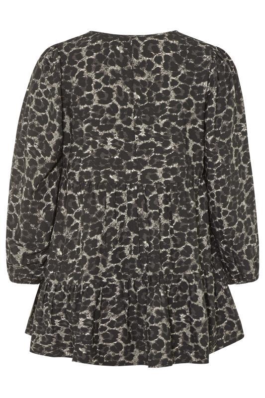 Grey Leopard Print Smock Blouse