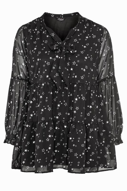 Plus Size  LIMITED COLLECTION Black Foil Star Tiered Bow Blouse