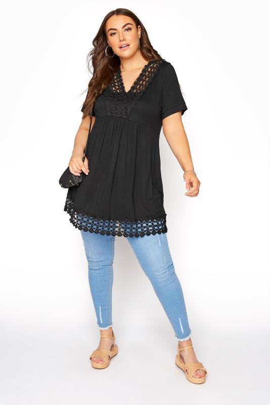 Black Crochet Trim Tunic