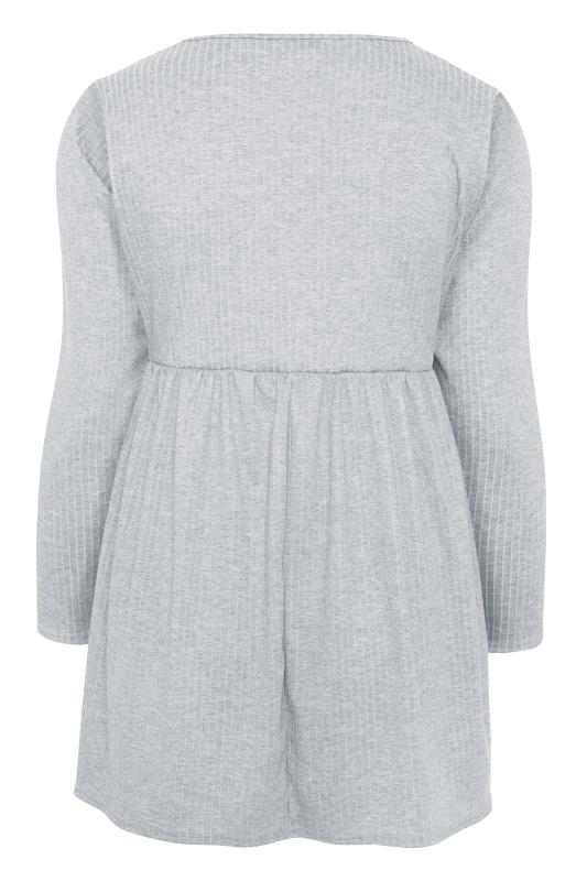 LTS Grey Ribbed Peplum Co-ord Lounge Top