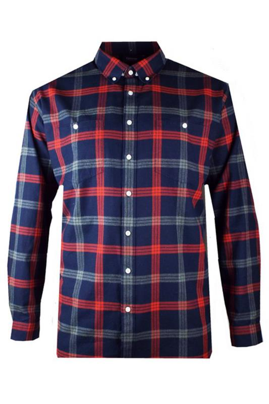 ESPIONAGE Navy & Red Check Brushed Cotton Flannel Shirt