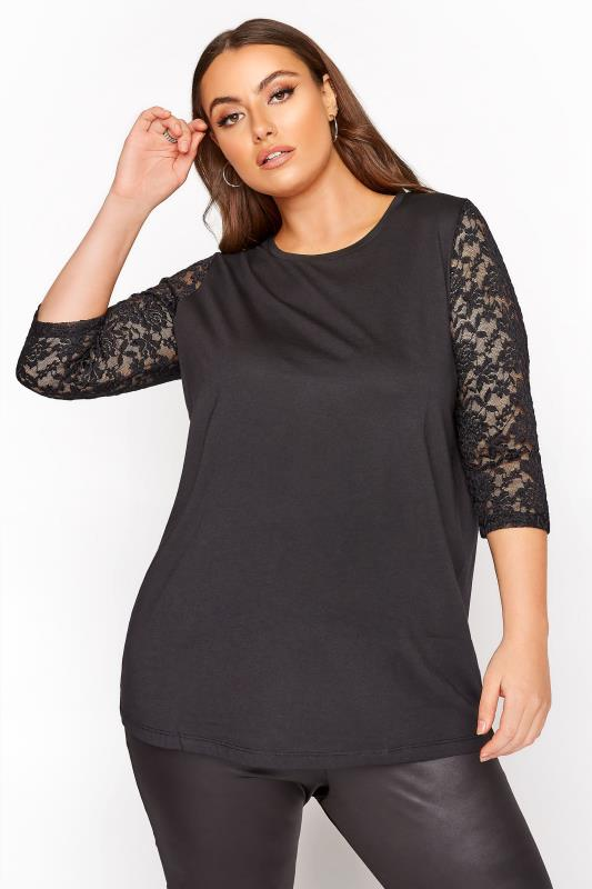 Plus Size  Black 3/4 Length Lace Sleeve Top