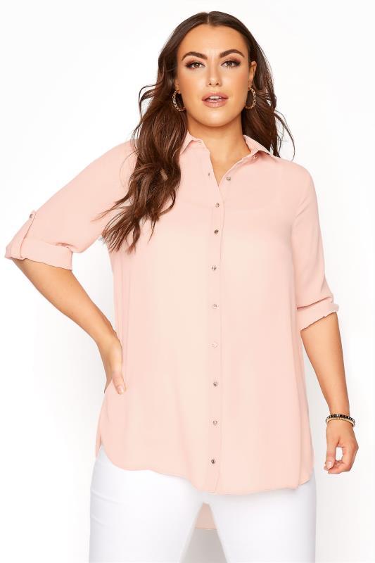 Plus Size  Light Pink Oversized Chiffon Shirt
