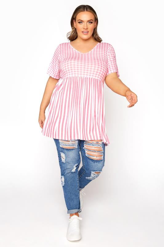 LIMITED COLLECTION Blush Pink Gingham Stripe Mix Top_B.jpg