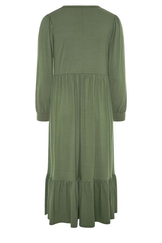 LIMITED COLLECTION Khaki Smock Midi Dress_BK.jpg