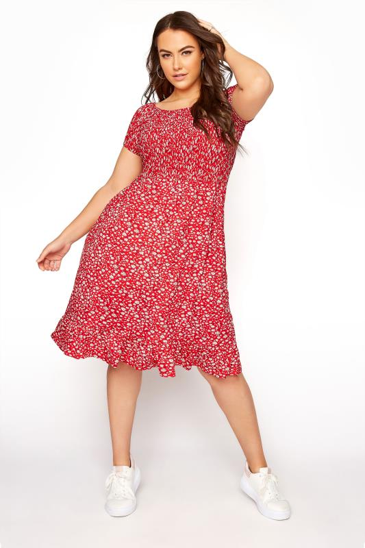 Plus Size  Red Ditsy Shirred Bardot Dress