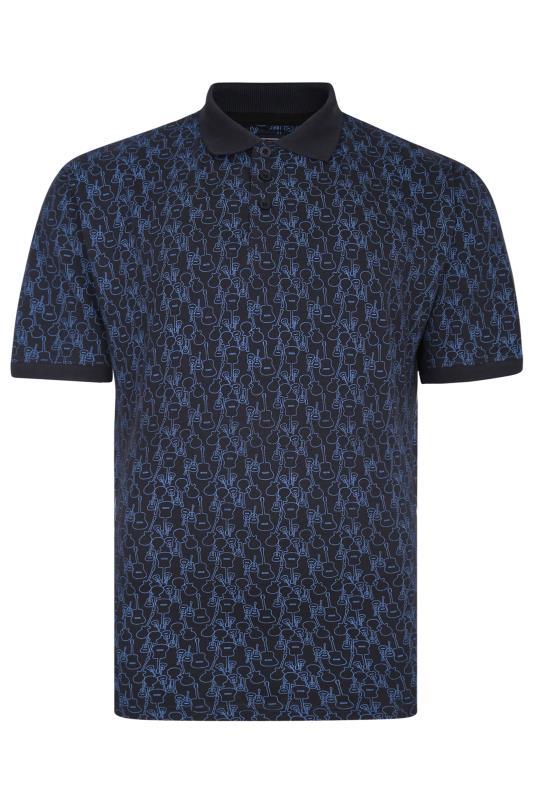Men's  KAM Dark Blue Guitar Print Polo Shirt