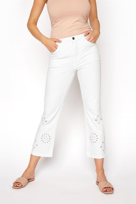 White Embroidered Hem Crop Flare Jeans