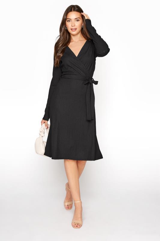 LTS Black Textured Wrap Dress