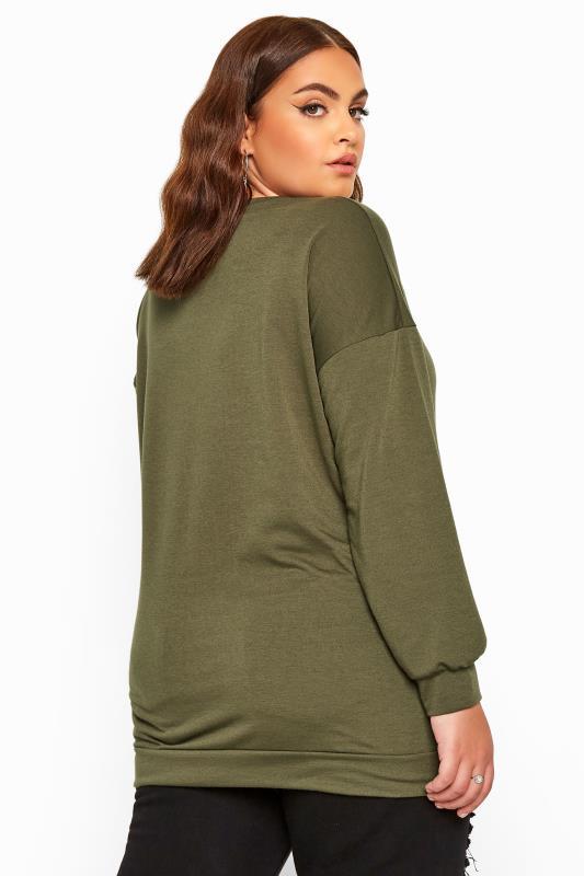 LIMITED COLLECTION Sweatshirt mit Lippen und Blitz-Grafik - Khaki