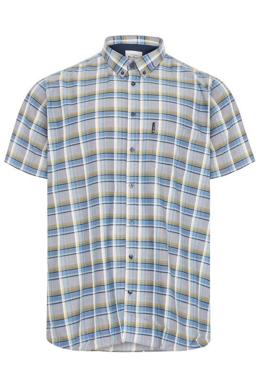 Plus Size  BEN SHERMAN Blue & Yellow Check Short Sleeve Shirt