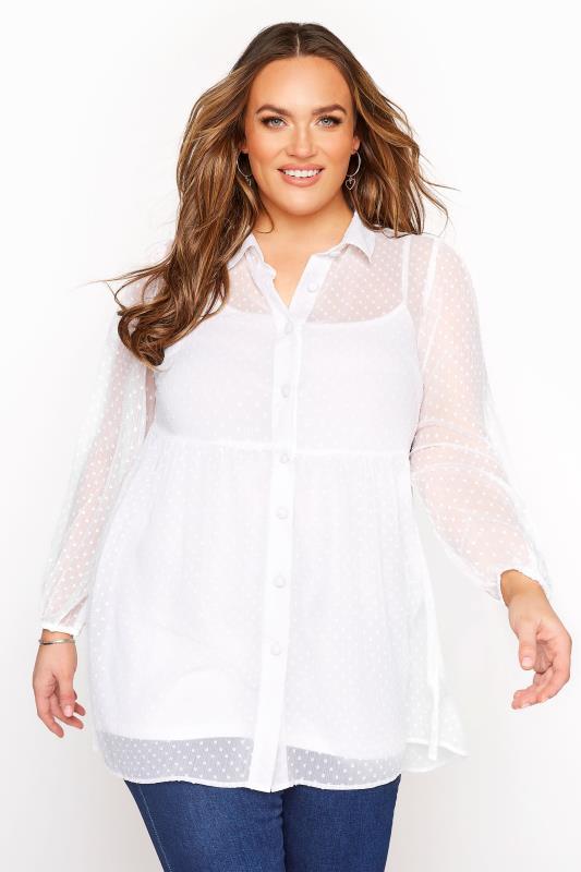 Plus Size  White Peplum Dobby Chiffon Shirt