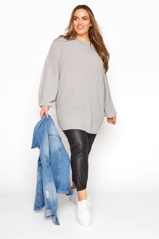 Light Grey Oversized Balloon Sleeve Knitted Jumper