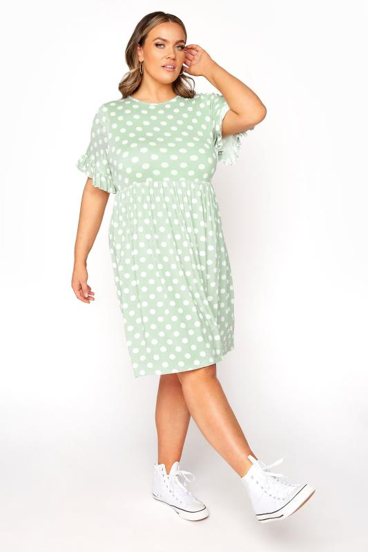 Plus Size  LIMITED COLLECTION Sage Green Spot Dress
