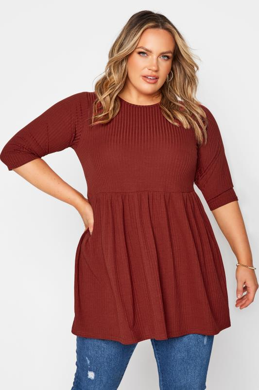 Plus Size  LIMITED COLLECTION Rust Ribbed Smock Top