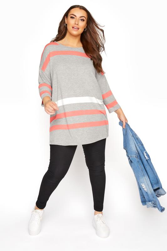 Grey and Coral Striped Half Sleeve Top