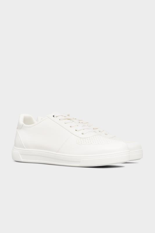 White Vegan Leather Lace Up Trainers In Extra Wide Fit_B.jpg