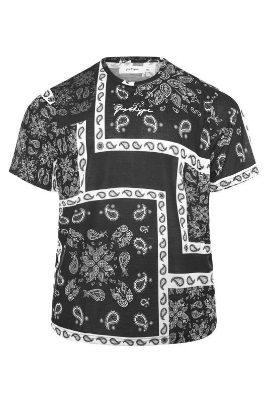 Men's  HYPE Black Paisley Print T-Shirt