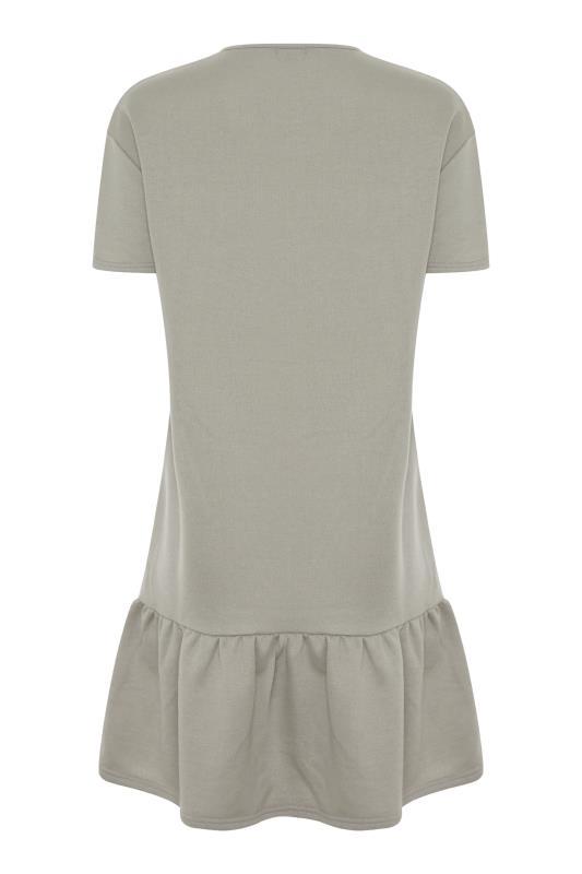 LTS Khaki Jersey Sweat Frill Hem Dress_BK.jpg