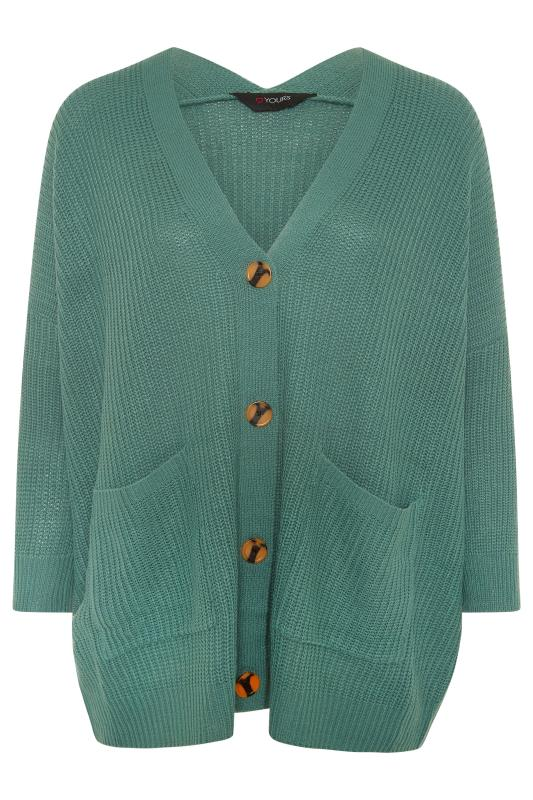 Plus Size  Green Button Knitted Cardigan