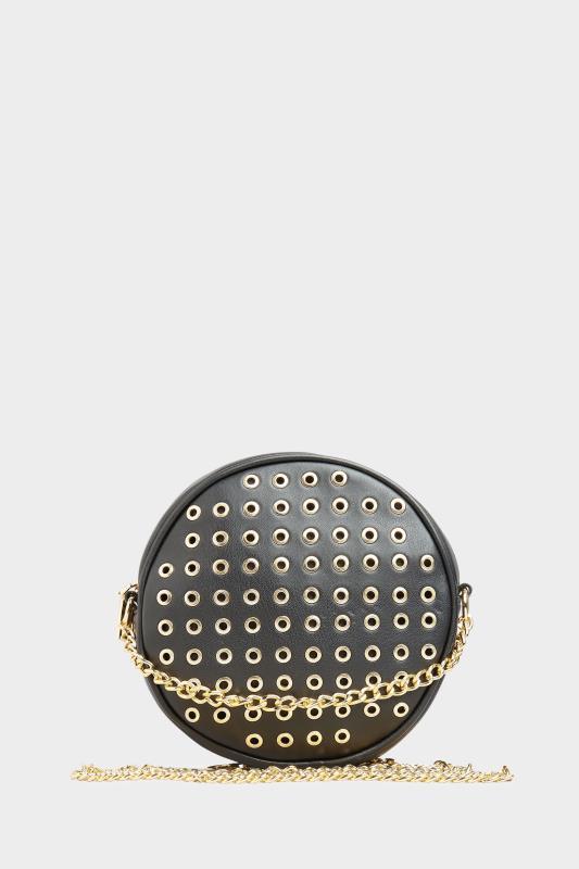 Yours Black Faux Vegan Leather Eyelet Detail Cross Body Bag